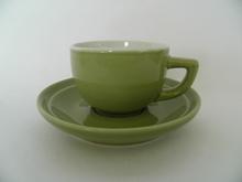 Oliivi -espressokuppi ja aluslautanen Kermansavi