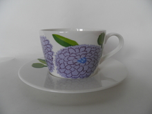 Primavera -kahvikuppi ja aluslautanen lila