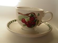 Pomona Portmeirion Tea Cup and Saucer dark Cherry