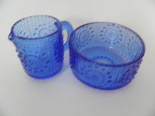 Grapponia Sugar Bowl and Creamer blue