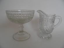 Creamer and Sugar Bowl clear glass Riihimäki