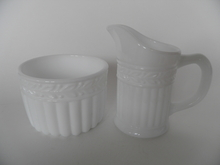 Kara Creamer and Sugar Bowl milk glass