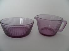 Ruutu Sugar Bowl and Creamer Riihimäen lasi