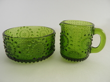 Grapponia Creamer and Sugar Bowl green