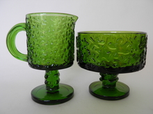 Jesper Sugar Bowl and Creamer green Erkkitapio siiroinen