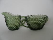 Creamer and Sugar Bowl green Riihimäen lasi