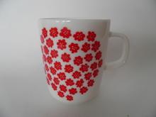Puketti Mug white red flowers Marimekko