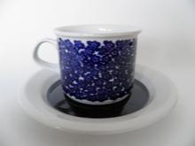 Faenza sinikukkainen kahvikuppi ja aluslautanen MYYTY