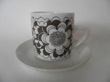 Gardenia kahvikuppi ja aluslautanen ruskea MYYTY