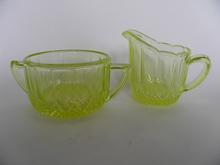 Creamer and Sugar Bowl yellow Riihimäen lasi