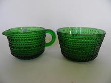 Kastehelmi Sugar Bowl and Creamer green