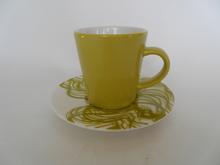 Espressokuppi ja lautanen keltainen Iittala