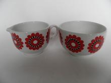 Sugar Bowl and Creamer red Flower Arabia