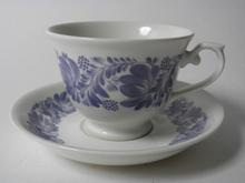 Kahvikuppi ja aluslautanen siniharmaa kuvio Arabia