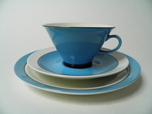 Harlekin Turquoise Tea Cup and Saucer and Side Plate Arabia