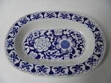 Gardenia Serving Plate blue
