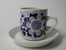 Gardenia kahvikuppi ja aluslautanen sininen MYYTY