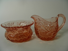 Kukka Creamer and Sugar Bowl Riihimaki Glass