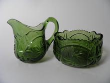 Creamer and Sugar Bowl green Riihimaki Glass