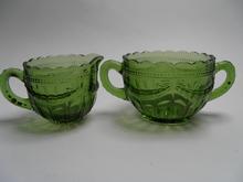 Sokerikko ja kermakko vihreä Riihimäen lasi