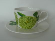 Primavera -kahvikuppi ja aluslautanen vaaleanvihreä
