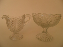 Creamer and Sugar Bowl clear glass Nuutajärvi