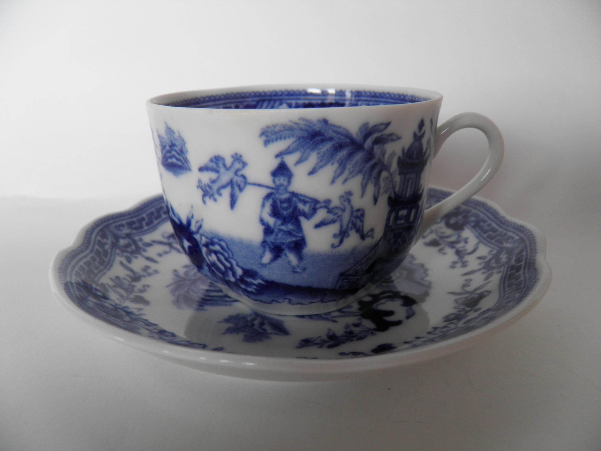 Singapore kahvikuppi ja aluslautanen sininen Arabia | Kupit ja lautaset - Retronomi Oy