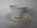 Harlekin Gold kahvikuppi ja aluslautanen Arabia