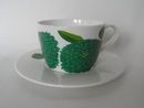 Primavera -kahvikuppi ja aluslautanen Tummanvihreä