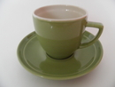Olive Coffee cup and Saucer green