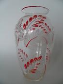 Maalattu maljakko puna-valkoinen