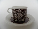 Faenza Coffee cup and Saucer Brown Flowers