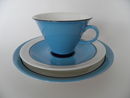 Harlekin Turquoise Coffee Cup, Saucer and Sideplate Arabia