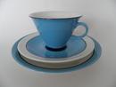 Harlekin Turquoise Coffee Cup, Saucer and Sideplate Arabia