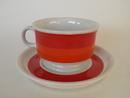 Pieni kahvikuppi ja aluslautanen punainen Arabia