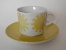 Keltainen aurinko kahvikuppi ja aluslautanen Arabia MYYTY