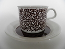 Faenza Tea Cup and Saucer brown Flowers Arabia SOLD OUT