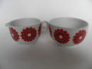 Sugar Bowl and Creamer red Flower Arabia