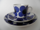 Aurinko blue Coffee Cup and two Plates Arabia SOLD OUT