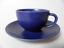 24h Tea Cup and Saucer blue matte