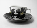 Coffee Cup and Saucer black-grey flower Arabia SOLD OUT