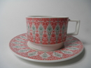 Sirkus Cup and Saucer red-green