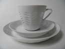 Rice Porcelain Coffee cup and 2 Plates Arabia