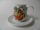 Pomona Portmeirion pieni kahvikuppi ja aluslautanen Kirsikka