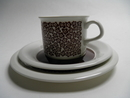 Faenza brown Flower Coffee Cup and 2 Plates SOLD OUT